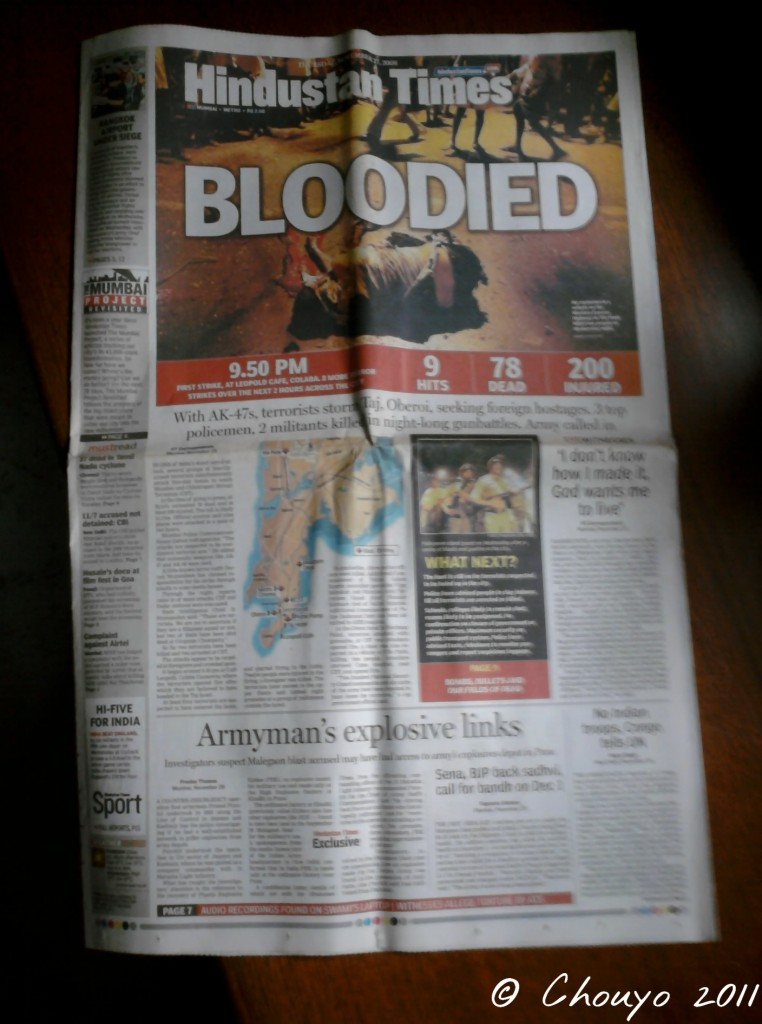 Mumbai Hindustan Times 27 novembre 2008