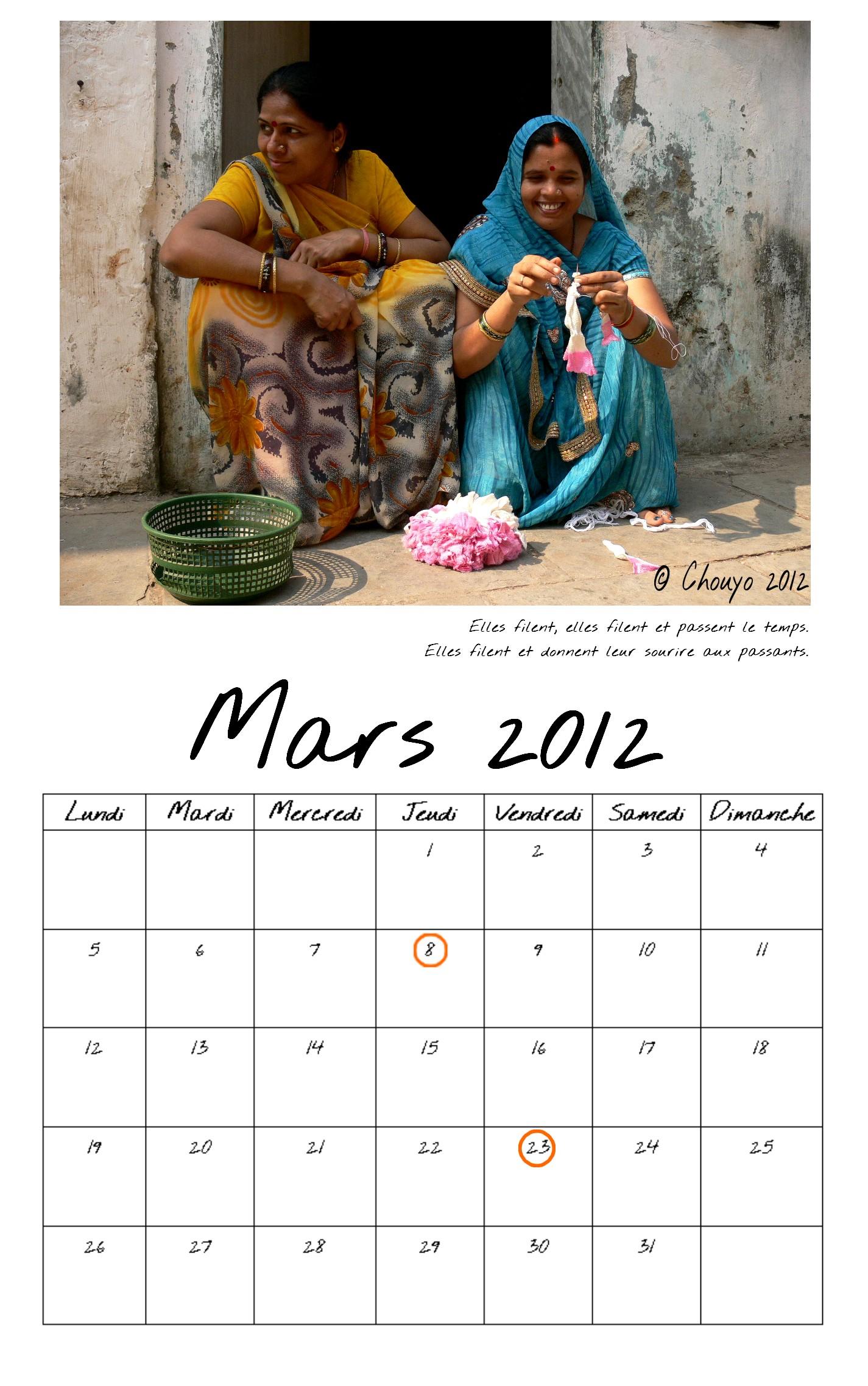Calendrier de Bombay Mars entier