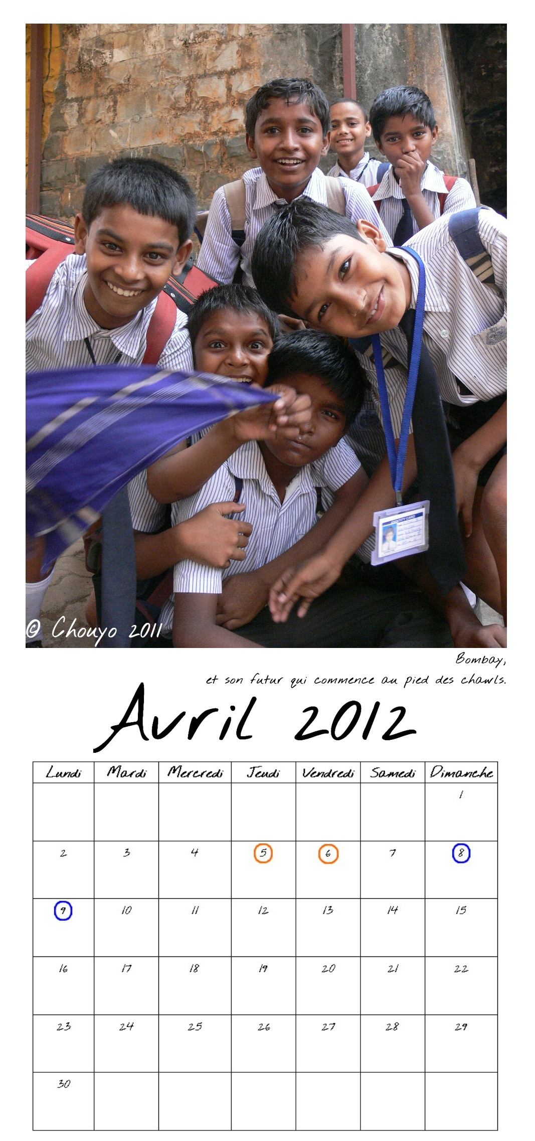 Calendrier Bombay Avril entier