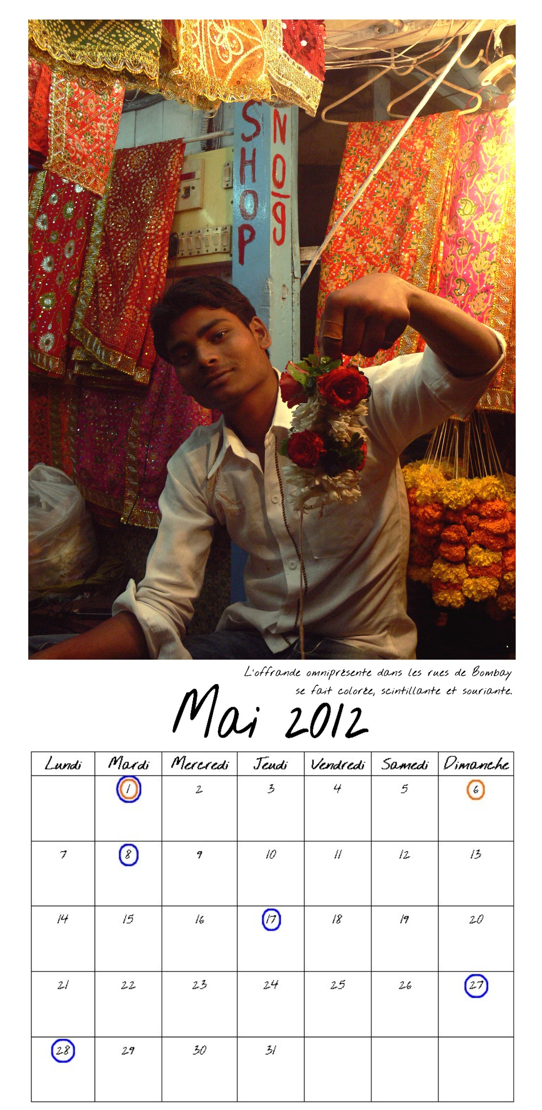 Calendrier de Bombay Mai entier