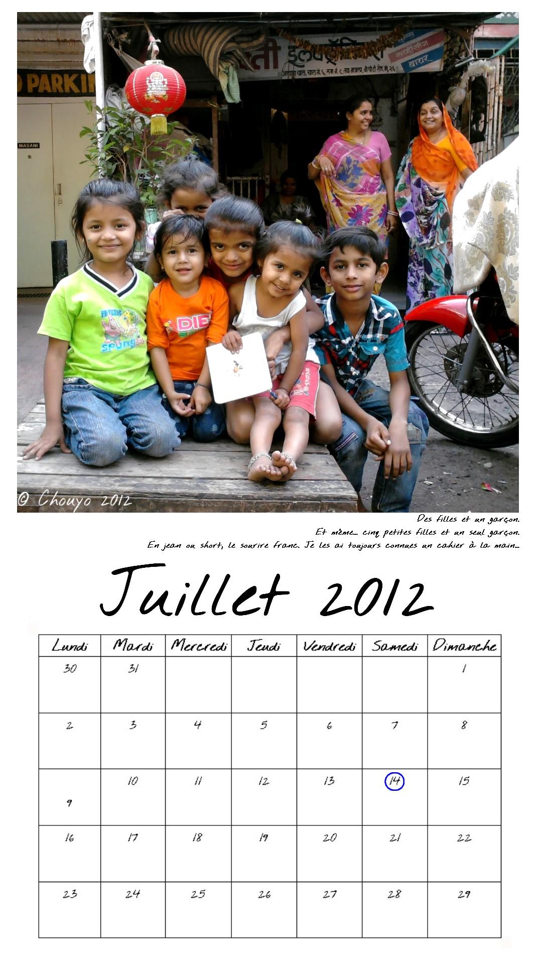 Calendrier de Bombay Juillet